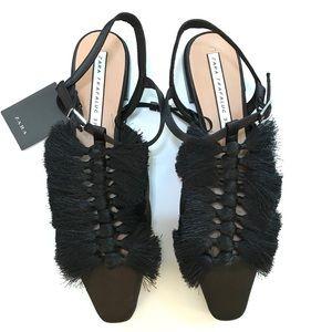 NWT Zara Black Tassel Flats